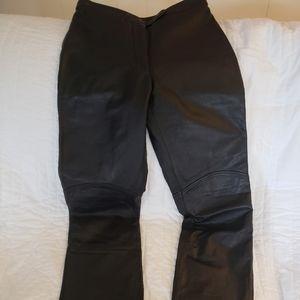 Leather straight leg pants